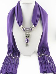 wholesale woven wraps NZ - Lovely fox pendant scarf women wrap jewelry scarf Mixed Colorful Scarves Charms gemstone Necklace 14 colors