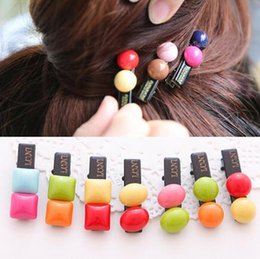 Wholesale Duckbill Hair Clips NZ - Hot sale New hair ornaments chocolate candy beans two-color semi-circular duckbill clip hair clip clip card FJ017 mix order 60 pieces a lot