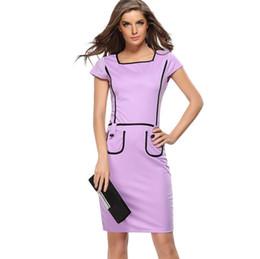 b9bfed09b29c785 фиолетовый талия карман до колен женщины летнее платье кнопка с коротким  рукавом черный края старинные Bodycon носить на работу туника тонкий  карандаш ...