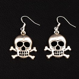 889a6cf95 Skull earring dangle online shopping - Halloween Skull Earrings Silver Fish  Ear Hook pairs Antique Silver
