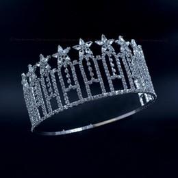 Concurso de Estrelas Da Coroa Senhorita Beleza Concurso de Alta Quanlity Tiaras de Strass Nupcial Do Casamento Acessórios Para o Cabelo Ajustável Headband mo230 em Promoção
