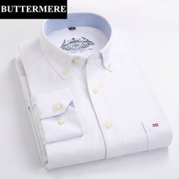 Chemises Blanches Pas Cher-Vente en gros- BUTTERMERE Marque Mens Oxford Shirt Mode Homme Designer Vêtement Slim Fit Shirt Long Sleeve White Dress Shirt China Camiseta