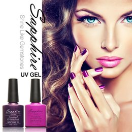 Barato Uv Gel Nail Summer Colors-Atacado- 80 cores 7.3ml 1 peça Lacquer Led UV Gel Nail Sticker Soak Off Gel Polish Summer Cor Gel Verniz De Porcelana Sapphire