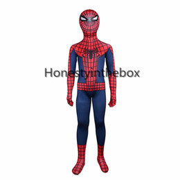 Barato Traje Azul Bodysuit-Hot Sale 2017 Red and Blue Lycra Spandex Completo Body Zentai terno Superhero Kids Spider-man Bodysuit Costume For Halloween