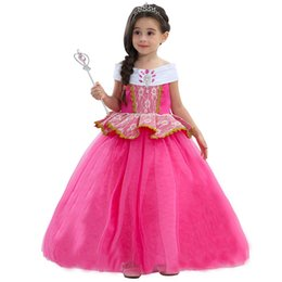 princess aurora dress NZ - New Children Aurora Princess Dresses Girls 6Layer Gauze Sleeping Beauty Party Pink Dress XMAS Cosplay Costume Halloween Clothing HH-A06