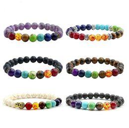 42e2cc62a6ad 2017 Nuevo 7 Chakra Pulsera Hombres Negro Lava Healing Balance Beads Reiki Buda  Oración Piedra Natural Yoga Pulsera Para Las Mujeres