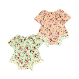 Mignons Newborn Shorts Pas Cher-Floral Girls Bodysuit Tassel Short Sleeve Summer Girls Sunsuit Coton Floral Vêtements pour bébés Newborn Playsuit Cute Baby Clothes