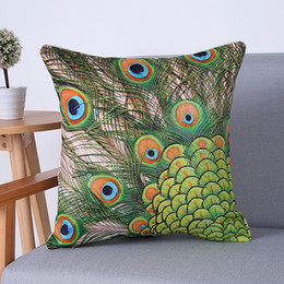 $enCountryForm.capitalKeyWord Canada - 45x 45cm Peacock Pillow Case Sofa Waist Throw Cushion Cover Home Decor DHL & FEDEX Free Shipping