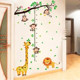 cartoon stick wall NZ - The monkey climbing height height stick children bedroom wallpaper cartoon wall stickers giraffe kindergarten wall stickers