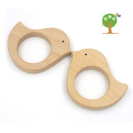 Wholesale Sale SET OF mm Wooden Teether Bird beech Teether Toy All Natural Wood Toy Free Teether Clip EA60
