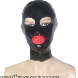 Red Noses NZ - Black With Red Sexy Latex Hood With Zip At Back Open Eyes Nose Fetish Rubber Mask Bondage TT-0006