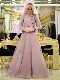 Vintage A Line Tulle Wedding Dresses With Hijab Flowers 2017 Muslim High Neck Sequins Long Sleeves Dubai Arabic Formal Women Bridal Gowns