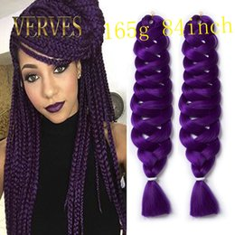 Purple Kanekalon Braiding Hair Canada - Braiding Hair 165g piece purple Sexy bulk Extensions 84inch fold Kanekalon Braiding Hair jumbo Crotchet Braids