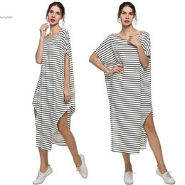 Ailes Robe Épaule Pas Cher-2017 Nouveaux robes de taille supérieure pour les vêtements pour femmes maxi Beach Dress Off Shoulder Loose Striped Bat-Wing Long