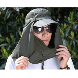 sun protection flap hat 2019 - Wholesale- Women Sun Hats Unisex Outdoor Leisure Sun & Fishing Hiking Hat UV Protection Face Neck Flap Casual Sun Cap di