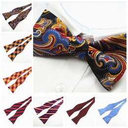 Mens Self Bow gravatas 100% de seda luxuoso liso liso Laço borboletas Noeud Papillon Business Wedding Multi-Colors