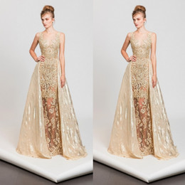 Robes De Quartier De Tony Pas Cher-Tony Ward 2017 Sexy Sheer robes de bal avec des perles de train détachable Sirène Sequined robes de soirée Lace Applique Fashion longue robe formelle