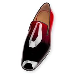 Vente en gros 2017 Marque Rouge Bas Appartements De Pissenlit Noir En Cuir Verni Robe Chaussures Haute Qualité Chaussure Femme Hommes Chaussures Robe Mocassins Chaussures Taille 46