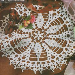 White Cotton Napkins Canada - 10% handmade crochet doily round coasters Napkin pad white home wedding decoration & accessories set of 6 pcs 01