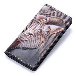 $enCountryForm.capitalKeyWord Canada - Handmade Genuine Leather Wallets Carving Zebra Bag Purses Women Men Long Clutch Vegetable Tanned Leather Wallet Card Holder