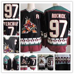 Custom Phoenix Coyotes Vintage Jersey  97 Jeremy Roenick 7 Keith Tkachuk  Black White 1998 CCM Retro Daniel Briere Stitched Hockey S-3XL 3a9956a3c