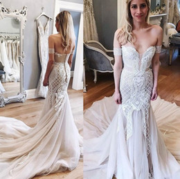 Barato Vestidos De Casamento Nupcial Chique-Chic Appliqued Beaded Long Train Wedding Dresses 2017 Vestidos de novia Mermaid Off Shoulders Blush Bridal Gowns Luxo