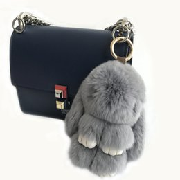 "China 15cm 6"" Gray-Hot Sale 100% Genuine Real Rabbit Rex Fur Bunny Tassels Keychain Pendent Purse Toy doll cheap boy toy dolls sale suppliers"