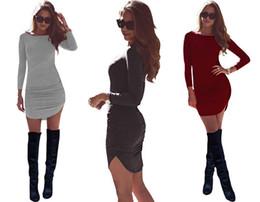 Hot Women Tight Mini Skirts UK - Hot Tight Pack Hip Dresses Rounded Arc Long-Sleeved Women's Dress Runway Dresses Slim Stretch Skirt ST977