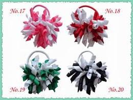 "hair clip holders wholesale 2019 - 50pcs 3.5"" korker ponytail hair ties holders streamer corker bows clips Cheer Bows Curly Ribbon hair bobbles hair a"