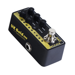 electric guitar overdrive pedal UK - Mooer Micro Digital Preamp 002 UK Gold 900 Delay and Reverb Effects Guitar Pedal with gold pedal connector and MOOER knob
