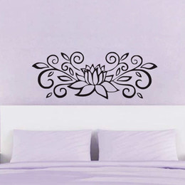 lotus flower room decor NZ - Lotus Wallpaper For Bedroom Large Flower Wall Stickers Wall Decor Vinyl Art Wall Decals Home Decorations