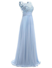 Venta al por mayor de Vestido de fiesta azul Cap Sleeve 2019 Robe Ceremonie Femme Vestidos de noche elegantes y largos Vestidos de fiesta hasta el suelo
