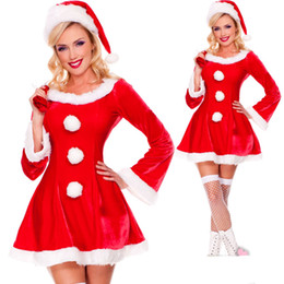 gift bag red cap red christmas sexy dress clothing adult long sleeved dress uniforms temptation costumes christmas clothes - Christmas Clothes For Adults