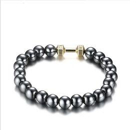 Hematite Jewelry Sets NZ - Men's Health Energy Bracelet Fashion Powerful Magnetic Hematite Therapy 8MM Beads Bracelets Jewelry FB-027