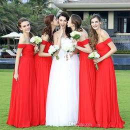 Summer beach wedding dreSSeS for gueStS online shopping - 2017 New Cheap Red Bridesmaid Dresses Off Shoulder Sweetheart Chiffon Long Summer Beach For Wedding Guest Dress Maid of Honor Gowns