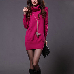 Pull À Manches Longues Mini Pas Cher-Vente en gros-Donna Femmes Sweater Dress Printemps Automne Candy Couleur Long Sleeve Turtle Neck Knitted Mini Robe Sexy Slim Pullover Robes M1103C