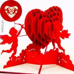 Invitation 3d Canada - 10pcs lot Laser Cut Wedding Invitations 3D Cupid's Heart Creative Valentine's Greeting&Gift Cards
