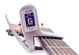 Guitar Electric Acoustic NZ - Free shipping Electric Acoustic Guitar Capo Tuner Tune Quick Change Clip-on 2-in-1 Design for Guitar Bass Chromatic