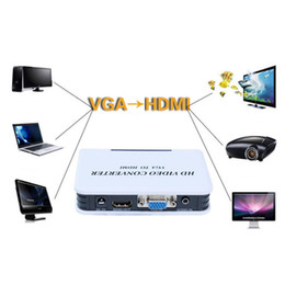 Vga hdmi conVerter plug online shopping - 1080P Audio VGA to HDMI HD HDTV Video Converter Box Adapter for PC Laptop DVD US plug Hot Worldwide