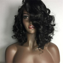 $enCountryForm.capitalKeyWord NZ - New short wavy human hair full lace bob wig with bangs peruvian hair bob full lace wig with bangs for black women