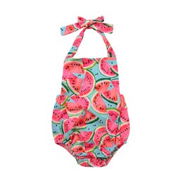 China Mikrdoo Summer Cute Watermelon Rompers Newborn Baby Girls Sleeveless Backless Halter Romper Jumpsuit Cotton Sunsuit Outfit 0-24M cheap jumpsuits collars suppliers