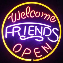 """China Welcome Friends Open Neon Sign Pub Display Store Beer Bar KTV Clubs Shop Motel Hotel Restaurant Neon Signs Real Glass Tube 16""""X16"""" suppliers"""