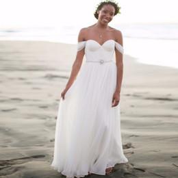 $enCountryForm.capitalKeyWord UK - 2019 Beach Wedding Dresses Sweetheart Chiffon Floor Length Pleats Beaded Bridal Gowns vestido de noiva Boho Wedding Dresses Floor Length
