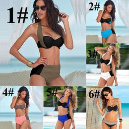 Barato Biquini Halter Cintura Alta-2017 New Sexy Bikinis Mulheres Swimsuit High Waisted Bathing Suits Halter Swim Push Up Bikini Set mais tamanho Swimwear