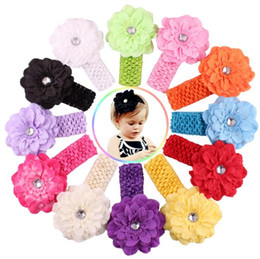 stick crochet UK - 12 Color Baby Chiffon crochet headhand Christmas Colorful Floral Elastic Peony flower Hairband hairbow Accessorie free shipping