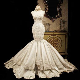China Lace Mermaid Wedding Dresses 2019 Sweetheart Luxury Fish Tail Slim Waist Satin Big Long Train Princess Bridal Gowns Vintage Corset Back supplier long tail gold wedding dress suppliers