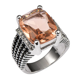 morganite crystal 2019 - ring bee Huge Morganite With Multi White Crystal Zircon 925 Sterling Silver Ring For Women and Men Size 6 7 8 9 discount