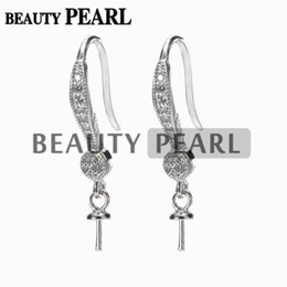 $enCountryForm.capitalKeyWord NZ - Hook Earring Base for Drop Pearls Zircon 925 Sterling Silver Earrings DIY Make Finding 5 Pairs
