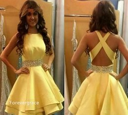 Habille-toi Pour Doux 16 Jaune Pas Cher-2017 New Arrival Yellow Cheap Homecoming Dress Vintage A Line Beaded Juniors Sweet 15 Graduation Cocktail Party Dress Plus Size Custom Made