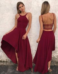 Robes Élégantes Salut Bas Pas Cher-Sexy High-low Backless Prom Dresses 2018 élégant sans manche en mousseline de soie A-ligne Robes de soirée Cheap Custom Made Party Robes